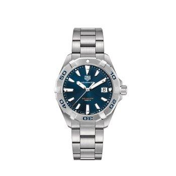 Aquaracer Quartz Watch 41mm steel bezel, blue dial, bracelet