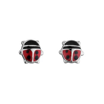 Silver Lady Bug Earrings