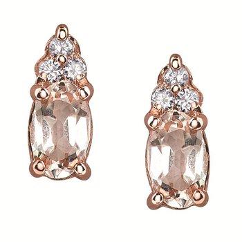 Morganite & Diamond Earrings set in 10kt Rose Gold