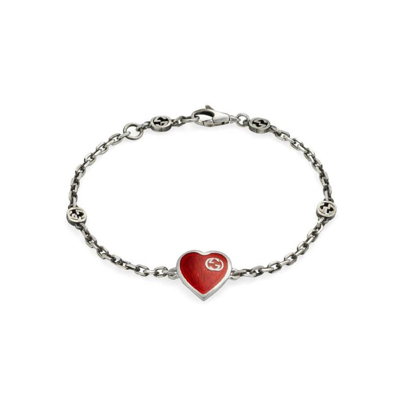 Gucci HEART 925 STERLING SILVER AND RED ENAMEL BRACELET