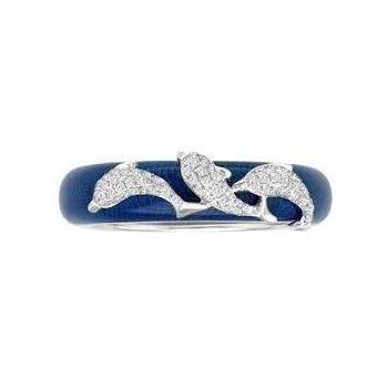 Blue Enamel & Dolphin Ring