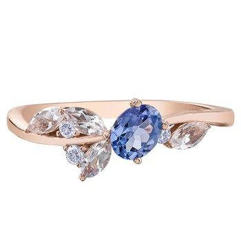Tanzanite, White Topaz & Diamond Ring.