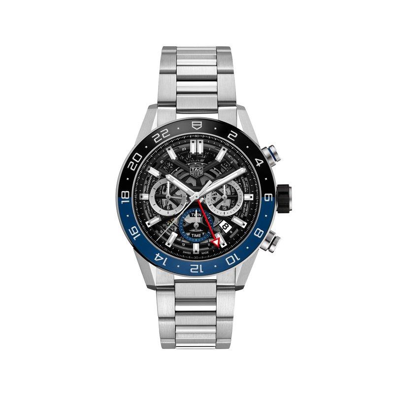 TAG Heuer Carrera Heuer 02 automatic chronograph GMT 45mm Black and blue ceramic bezel, skeleton dial, bracelet