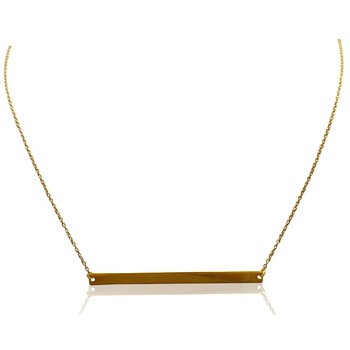 Yellow Gold Horizontal Bar Necklace
