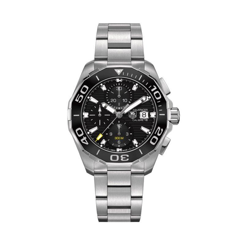 TAG Heuer Aquaracer - 43mm chronograph, black dial, bracelet