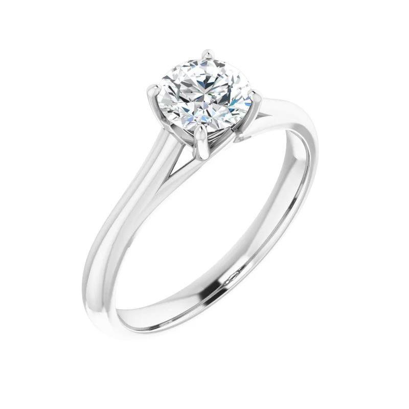 Ashley 14k White Gold Timeless Round Solitaire Engagement Ring