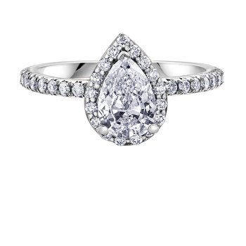 .95ct. TW Pear Shaped Halo Engagement Ring.