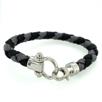 Sailing bracelet in stainless steel, black and grey braided nylon