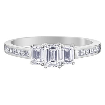 Emerald & Princess Cut Diamond Engagement Ring