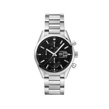 Carrera 41mm Calibre 16 automatic chronograph Black dial, bracelet