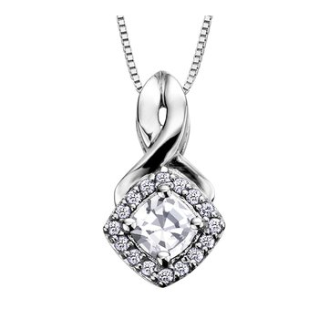 White Zircon & Diamond Necklace