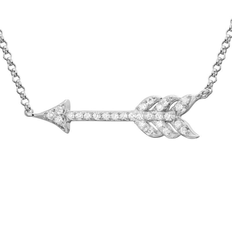 Ashley Diamond Set Arrow Necklace