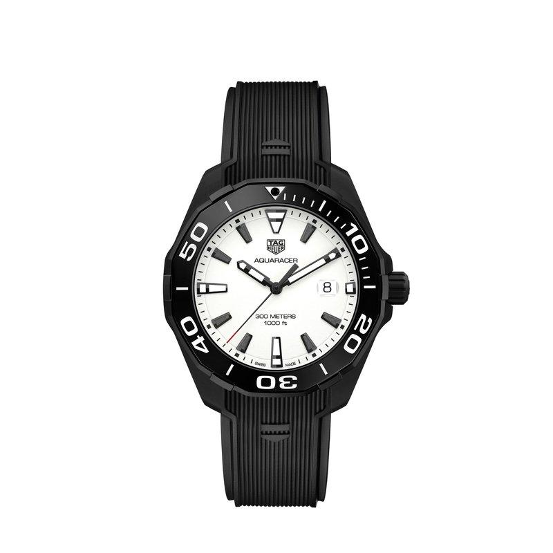 TAG Heuer TAG Heuer Aquaracer Quartz Watch 43mm AQUARACER Black PVD Ti2 case, ceramic bezel, white textured dial, black rubber strap