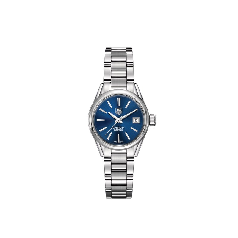TAG Heuer Carrera Ladies Automatic watch 28mm Polished steel case, blue dial, steel bracelet