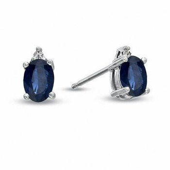 Oval Blue Sapphire and Diamond Accent Stud Earrings in 14K White Gold
