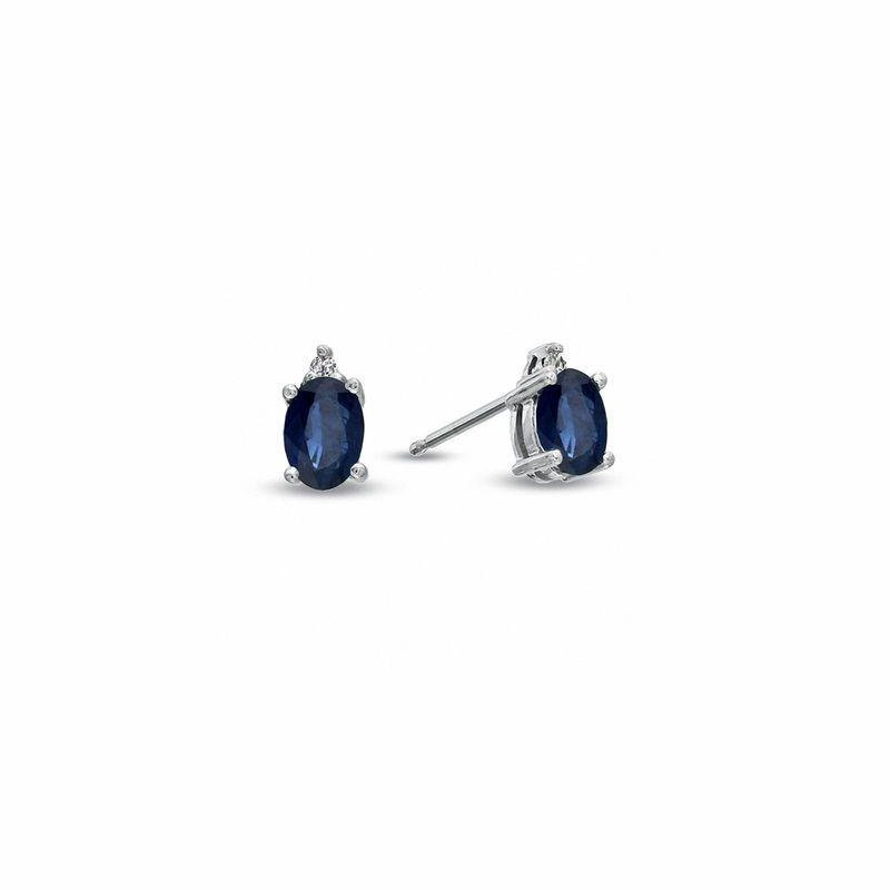 Ashley Oval Blue Sapphire and Diamond Accent Stud Earrings in 14K White Gold