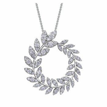 1.05 carat TW.Diamond Set Circle Motif Necklet