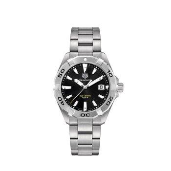 Aquaracer Quartz Watch 41mm Steel bezel, black dial, bracelet