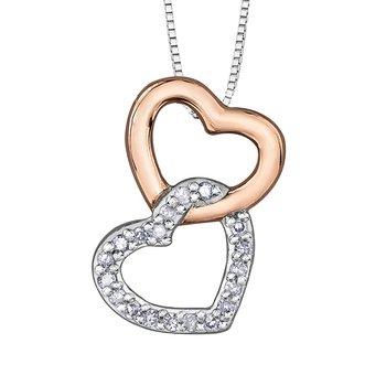 INTERLOCKING HEART SHAPE DIAMOND SET NECKLACE