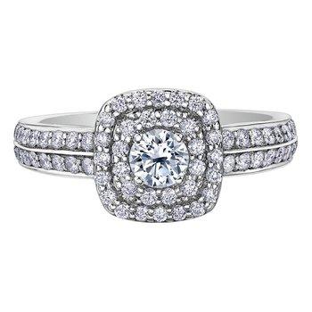 14kt White gold .81 carat Diamond Set Double Halo Engagement Ring