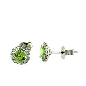 Peridot & Diamond Halo Stud Earrings