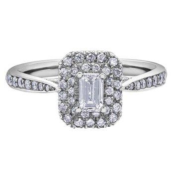 14kt White Gold Emerald Cut Diamond Engagement Ring