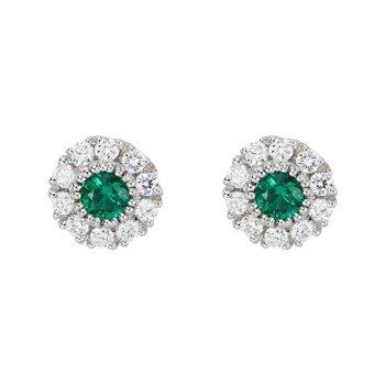 Cluster Emerald & Diamond Earrings