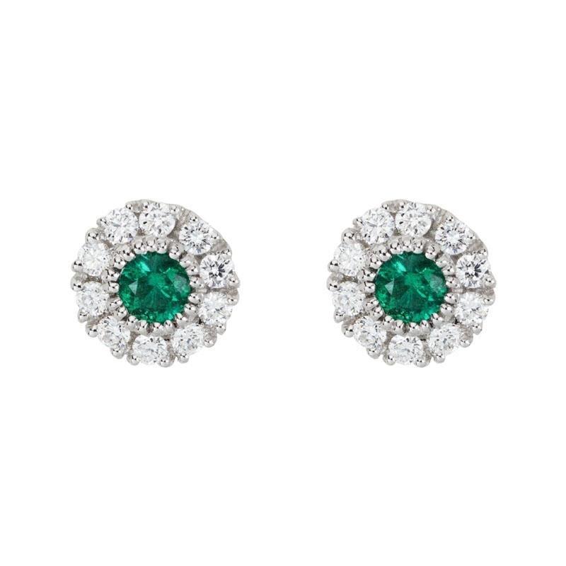 Ashley Cluster Emerald & Diamond Earrings