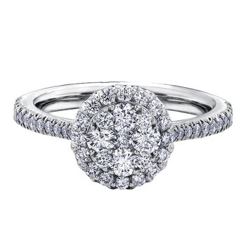Diamond Cluster Ring With Single Halo