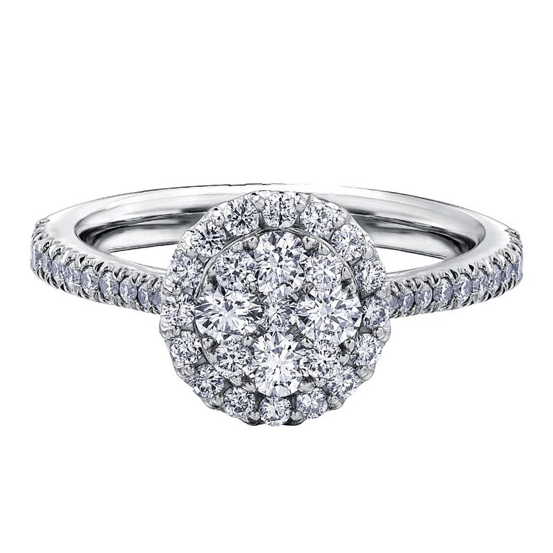 Ashley Diamond Cluster Ring With Single Halo