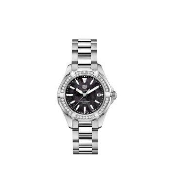 Aquaracer Quartz Watch 35mm Steel case, black ceramic diamond bezel, black MOP dial, steel bracelet
