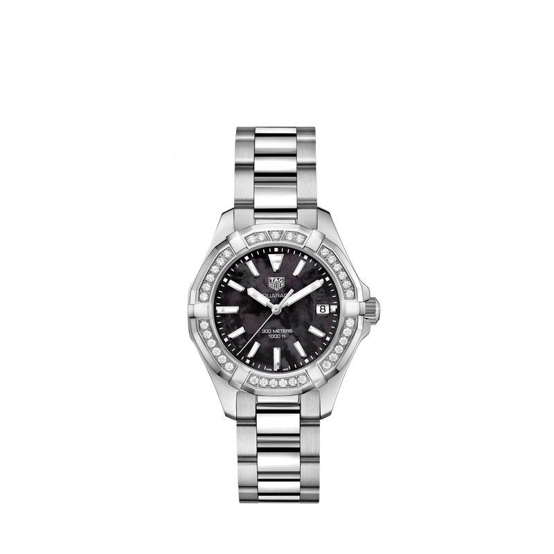 TAG Heuer Aquaracer Quartz Watch 35mm Steel case, black ceramic diamond bezel, black MOP dial, steel bracelet