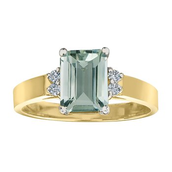 Ladies Green Amethyst and Diamond Ring