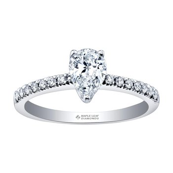 14kt White Gold Engagement Ring with Pear Shaped Diamond