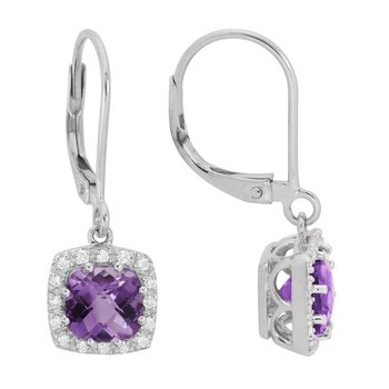 Amethyst & Diamond Halo Lever back Earrings.