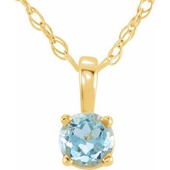 Children's Necklace - March Birthstone