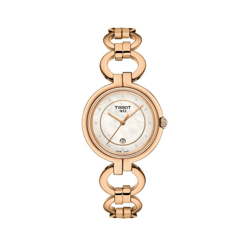 Tissot FLAMINGO SUBTLE AND ELEGANT JEWELRY WATCH SLIM STRAP WITH ASYMMETRICAL LINKS INSPIRED BY THE FLAMINGO LEGS WHITE MOTHER-OF-PEARL DIAL WITH 12 DIAMONDS 8/8 SINGLE CUT