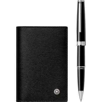 Gift Set with PIX Black Rollerball and 4810 Westside Business Card Holder with V Gusset