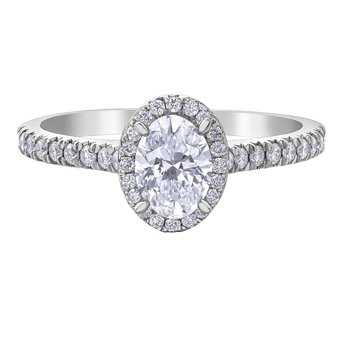 14kt White Gold .81 Carat tw. Oval Halo Engagement Ring