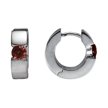Silver Huggie Garnet Earrings