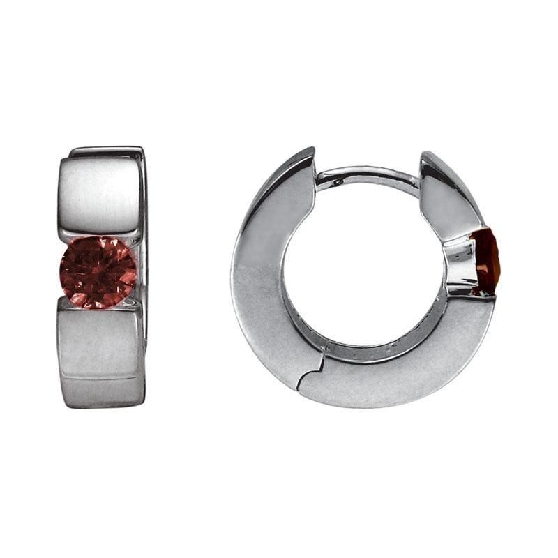 Ashley Silver Huggie Garnet Earrings