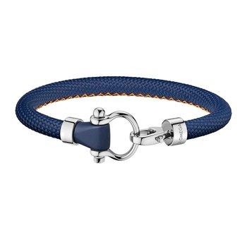 Blue rubber bracelet with orange seam, steel clasp, 21cm
