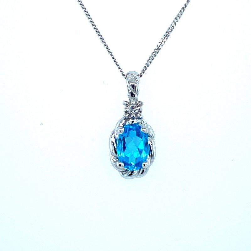 Ashley Blue Topaz & Diamond Necklace