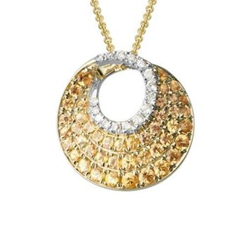 Pave Set Yellow Sapphire & Diamond Circle Necklace