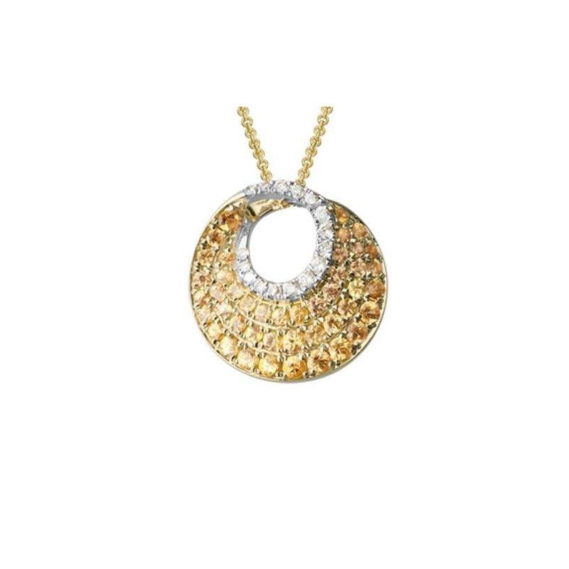 Ashley Pave Set Yellow Sapphire & Diamond Circle Necklace
