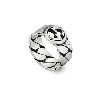 Interlocking G Sterling Silver 8mm Ring YBC661515001 Size 11 (25)
