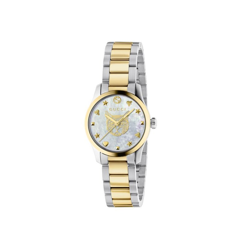 Gucci Timepieces G-Timeless Feline Head Two-Tone stainless steel Bracelet Watch