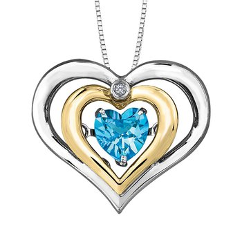 Blue Topaz & Diamond Pulse Necklace