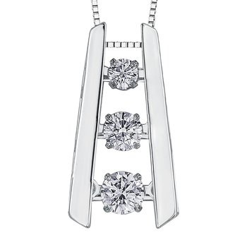 Thee-Stone Diamond Pulse Necklace