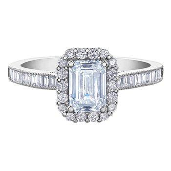 18k White Gold Emerald Cut Canadian Diamond Engagement Ring